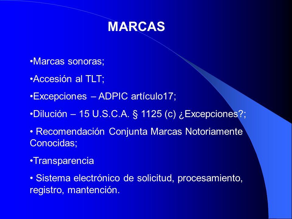 MARCAS Marcas sonoras; Accesión al TLT;