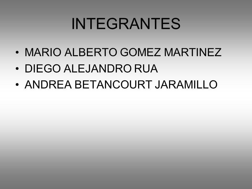 INTEGRANTES MARIO ALBERTO GOMEZ MARTINEZ DIEGO ALEJANDRO RUA