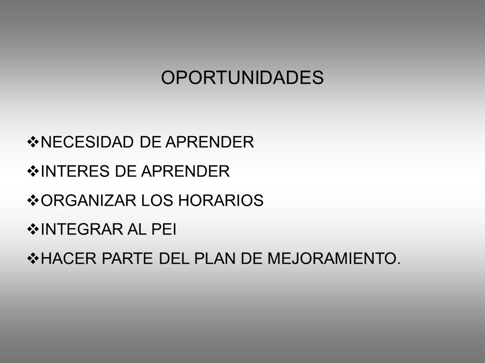OPORTUNIDADES NECESIDAD DE APRENDER INTERES DE APRENDER
