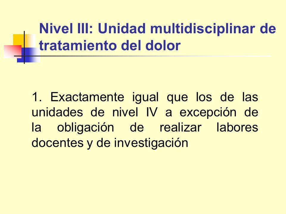 Nivel III: Unidad multidisciplinar de tratamiento del dolor