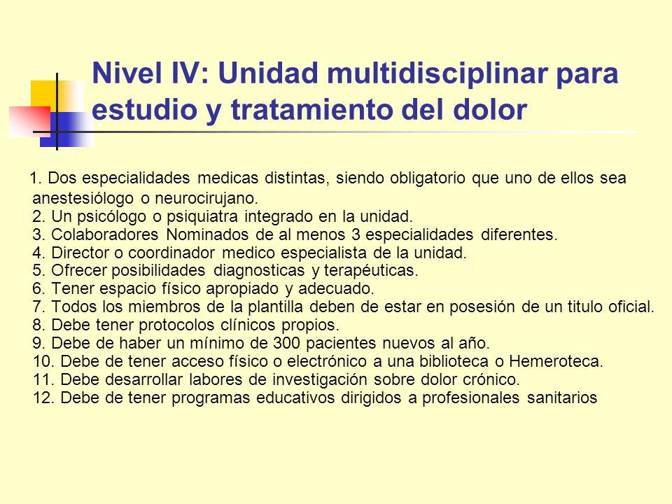 Nivel IV: Unidad multidisciplinar para estudio y tratamiento del dolor