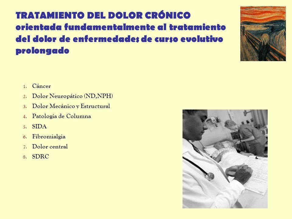 TRATAMIENTO DEL DOLOR CRÓNICO orientada fundamentalmente al tratamiento del dolor de enfermedades de curso evolutivo prolongado