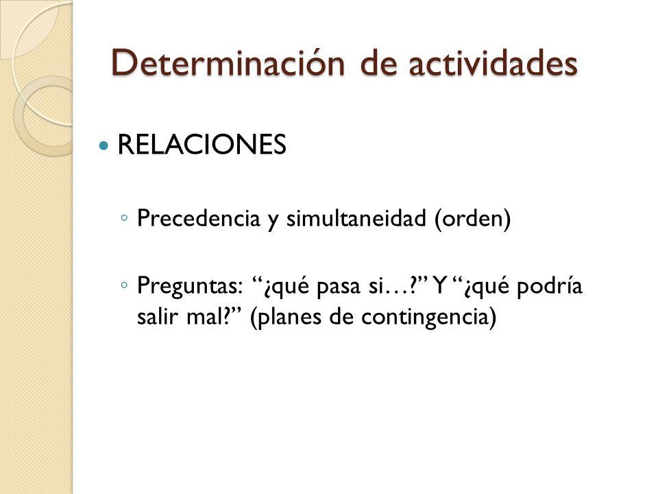 Determinación de actividades