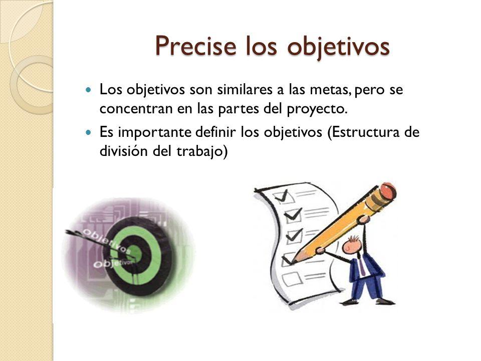 Precise los objetivos Los objetivos son similares a las metas, pero se concentran en las partes del proyecto.