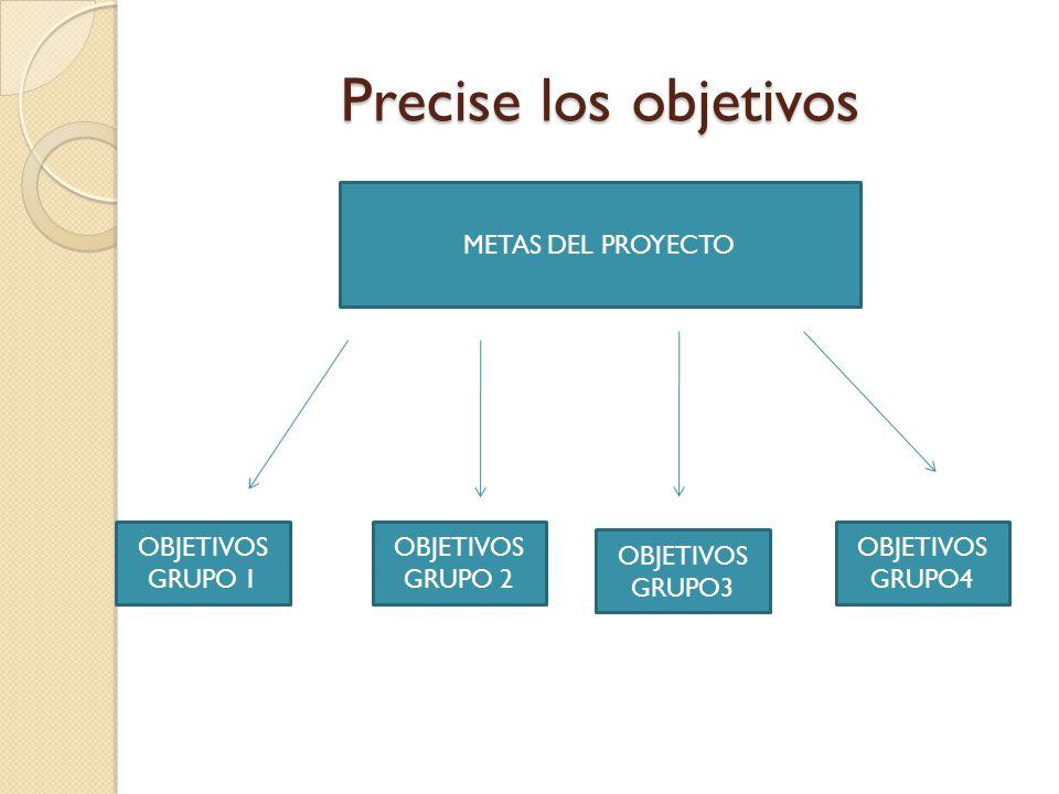 Precise los objetivos METAS DEL PROYECTO OBJETIVOS GRUPO 1