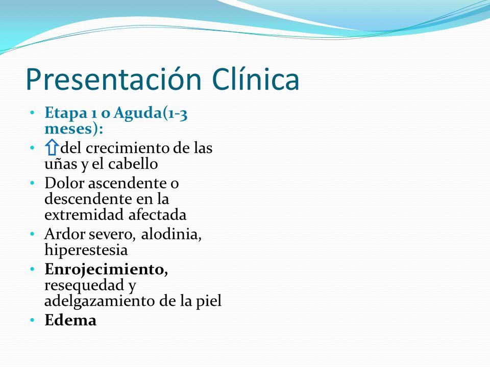 Presentación Clínica Etapa 1 o Aguda(1-3 meses):