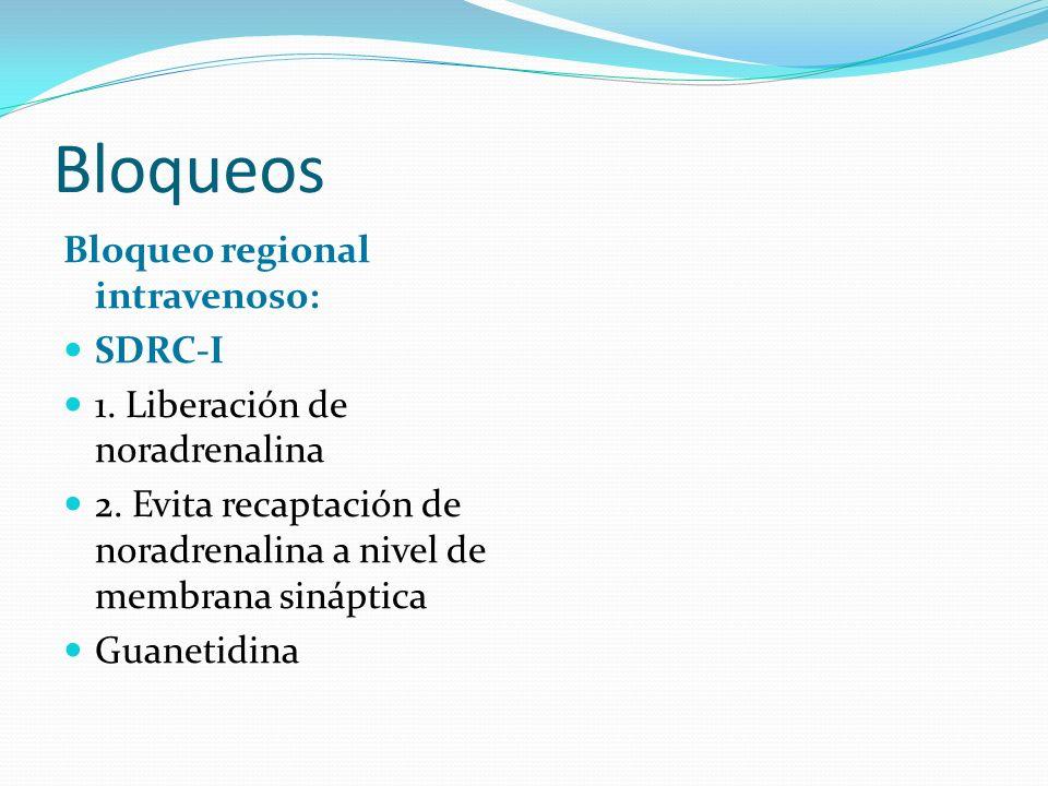 Bloqueos Bloqueo regional intravenoso: SDRC-I