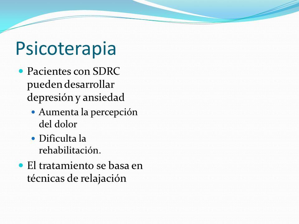 PsicoterapiaPacientes con SDRC pueden desarrollar depresión y ansiedad. Aumenta la percepción del dolor.