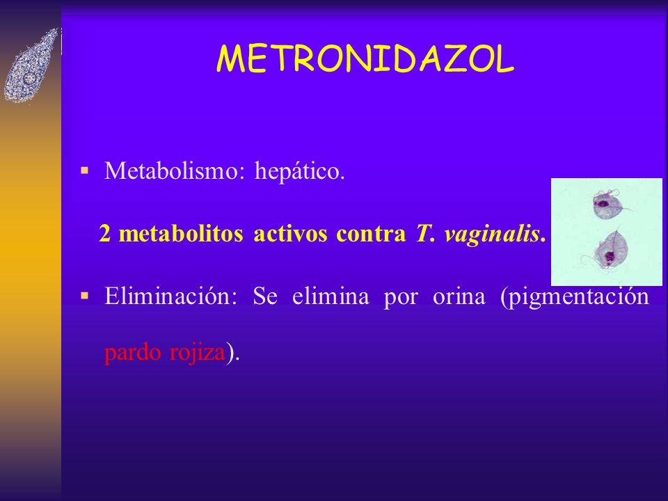 METRONIDAZOL Metabolismo: hepático.