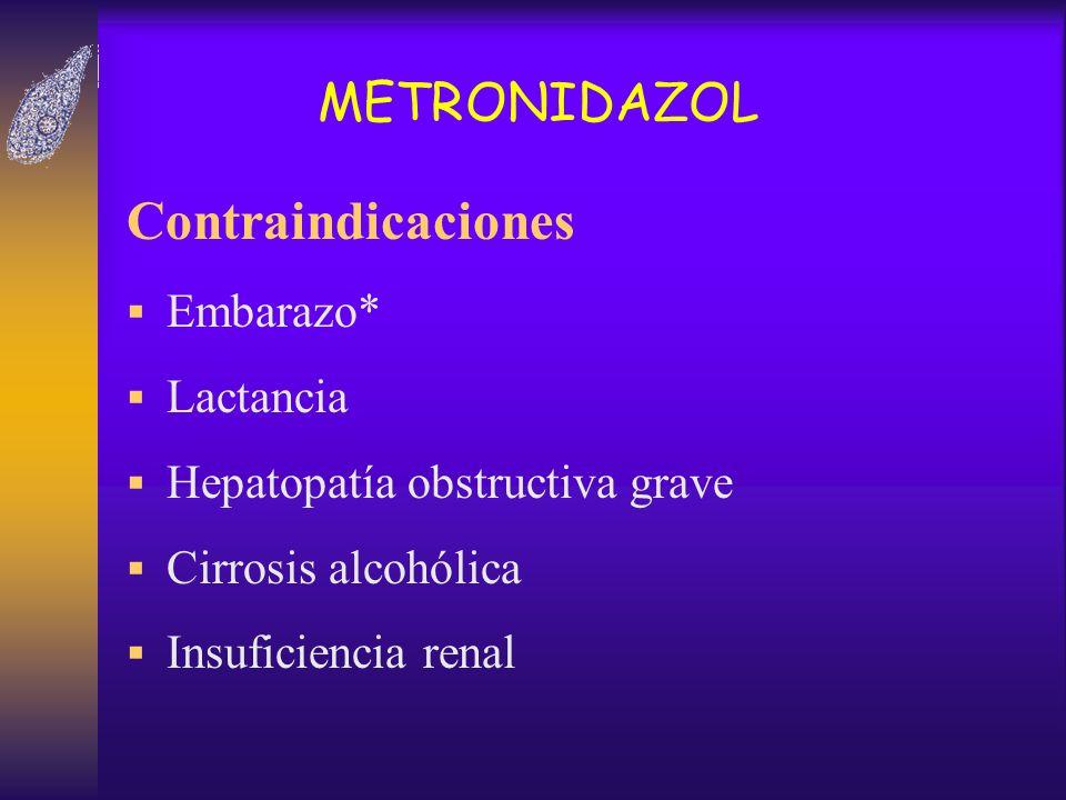 Contraindicaciones METRONIDAZOL Embarazo* Lactancia