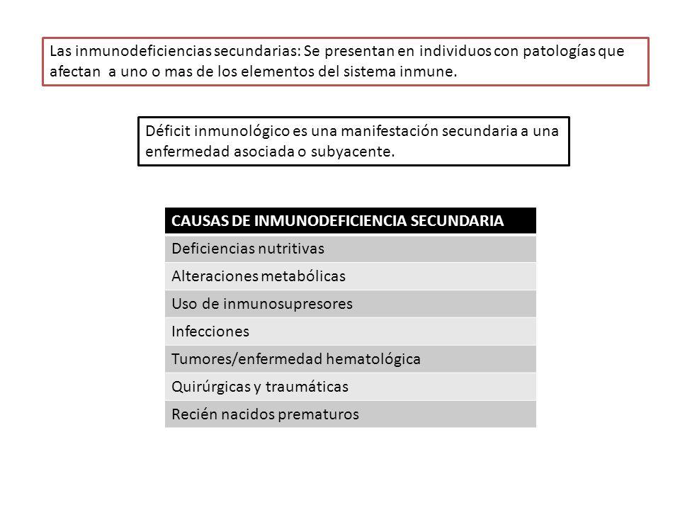 Las inmunodeficiencias secundarias: Se presentan en individuos con patologías que afectan a uno o mas de los elementos del sistema inmune.