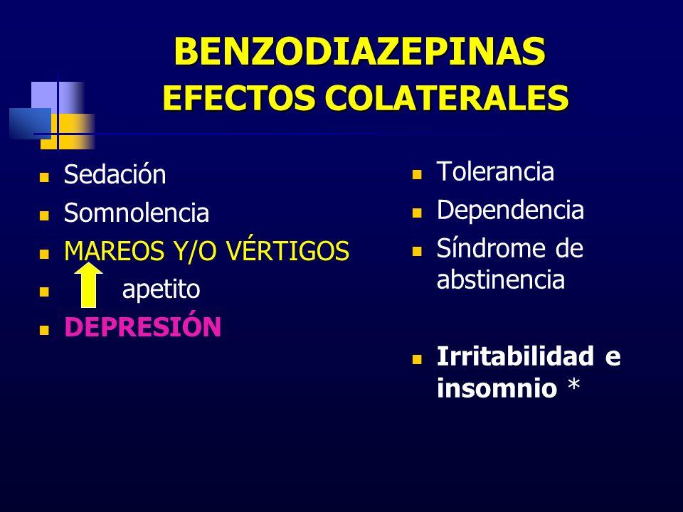 BENZODIAZEPINAS EFECTOS COLATERALES