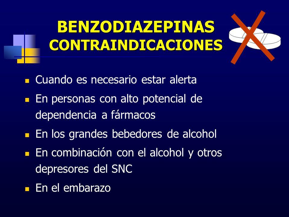 BENZODIAZEPINAS CONTRAINDICACIONES