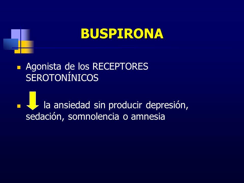 BUSPIRONA Agonista de los RECEPTORES SEROTONÍNICOS