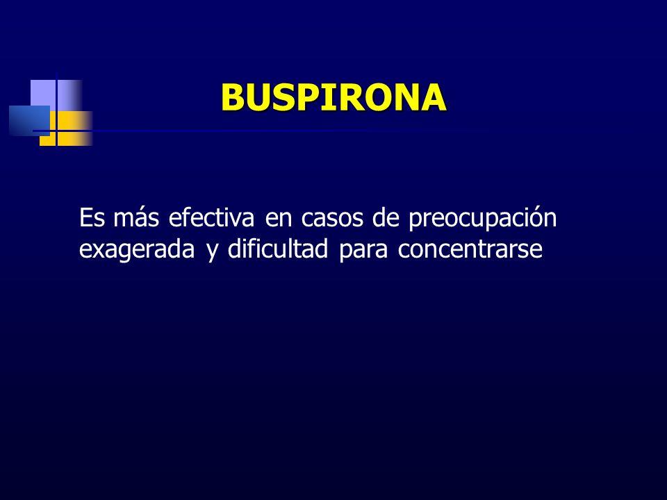 BUSPIRONA Es más efectiva en casos de preocupación exagerada y dificultad para concentrarse