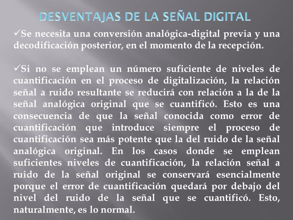 DESVENTAJAS DE LA SEÑAL DIGITAL