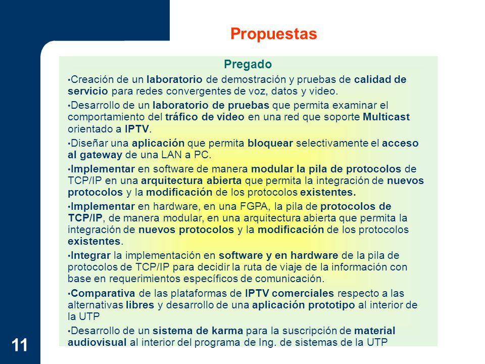 Propuestas Pregado. Creación de un laboratorio de demostración y pruebas de calidad de servicio para redes convergentes de voz, datos y video.