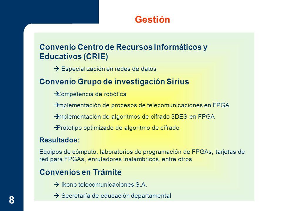 Gestión Convenio Centro de Recursos Informáticos y Educativos (CRIE)