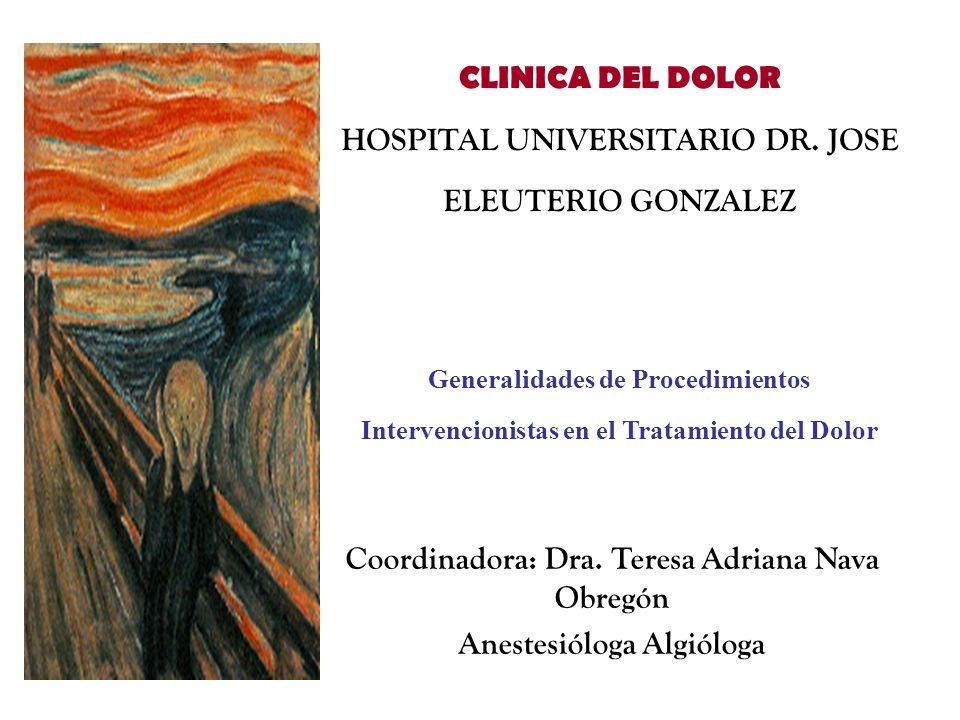 Coordinadora: Dra. Teresa Adriana Nava Obregón Anestesióloga Algióloga