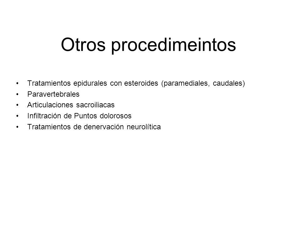 Otros procedimeintos Tratamientos epidurales con esteroides (paramediales, caudales) Paravertebrales.