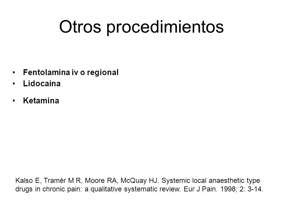 Otros procedimientos Fentolamina iv o regional Lidocaina Ketamina