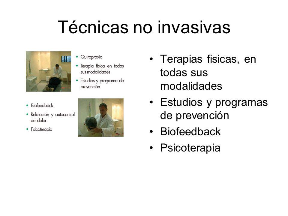 Técnicas no invasivas Terapias fisicas, en todas sus modalidades