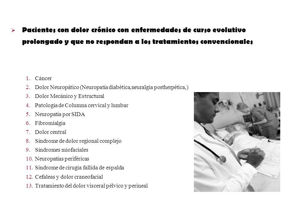 Pacientes con dolor crónico con enfermedades de curso evolutivo prolongado y que no respondan a los tratamientos convencionales