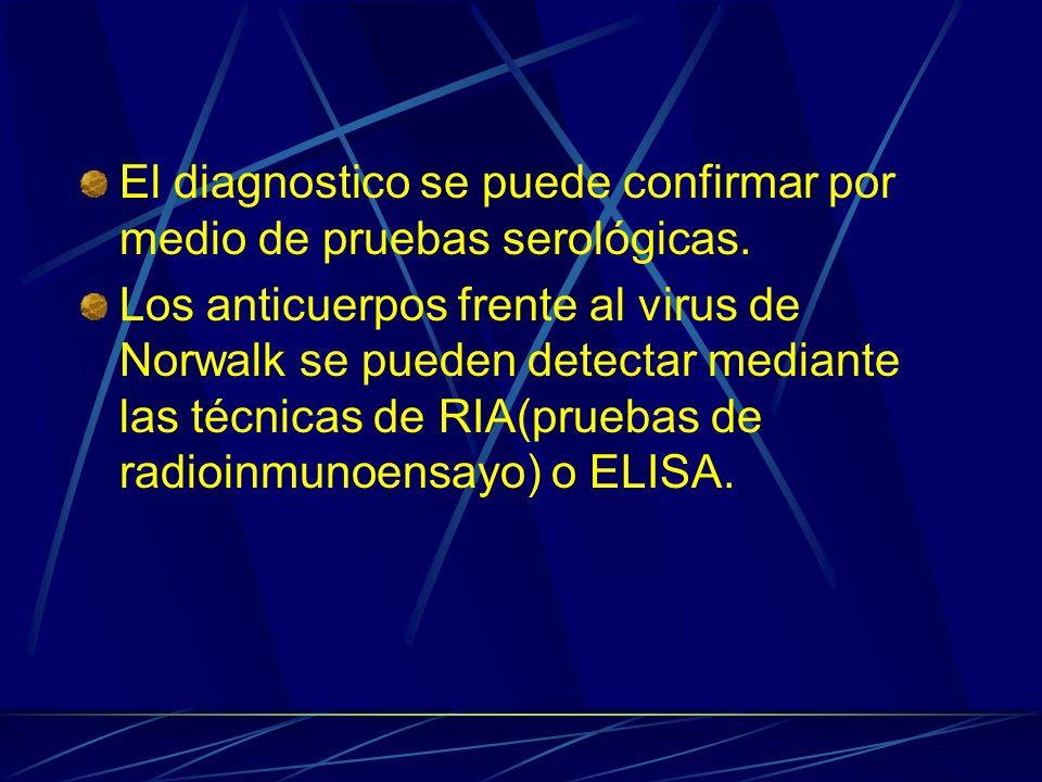 El diagnostico se puede confirmar por medio de pruebas serológicas.