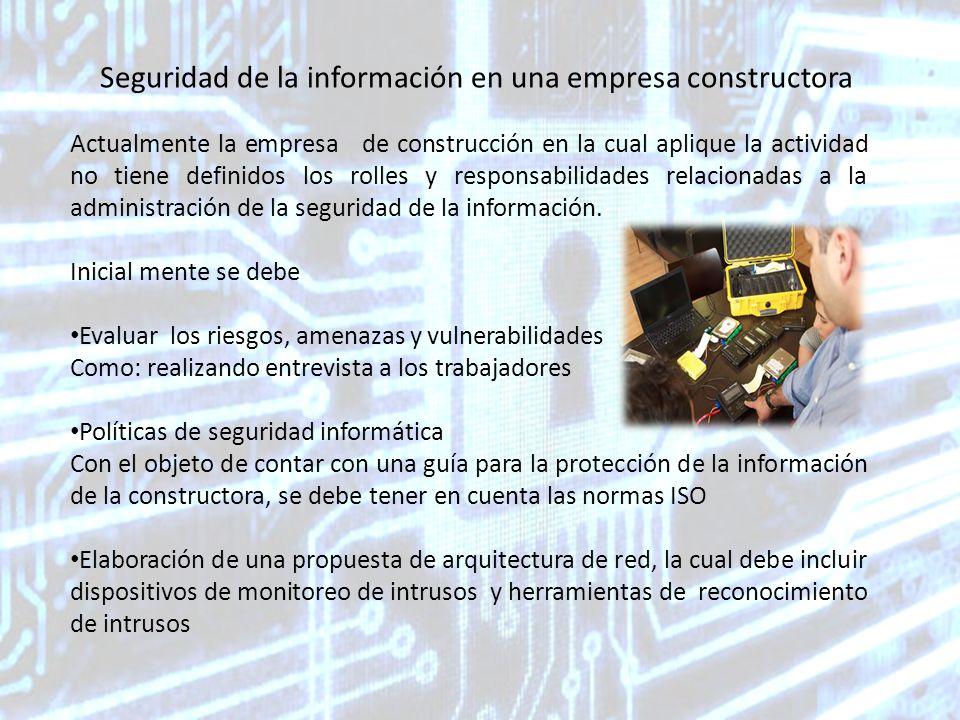 Seguridad de la información en una empresa constructora