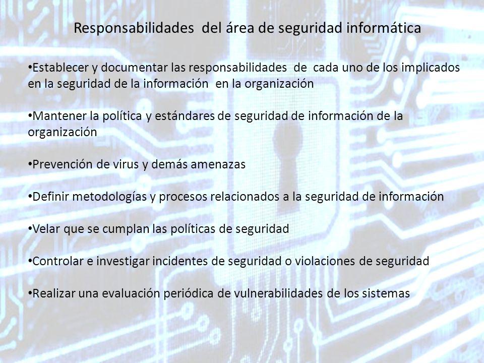 Responsabilidades del área de seguridad informática