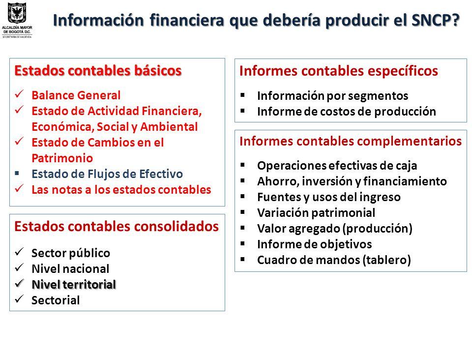 Información financiera que debería producir el SNCP
