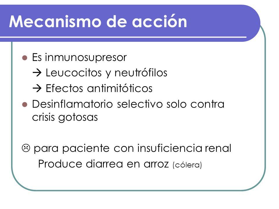 Mecanismo de acción Es inmunosupresor  Leucocitos y neutrófilos