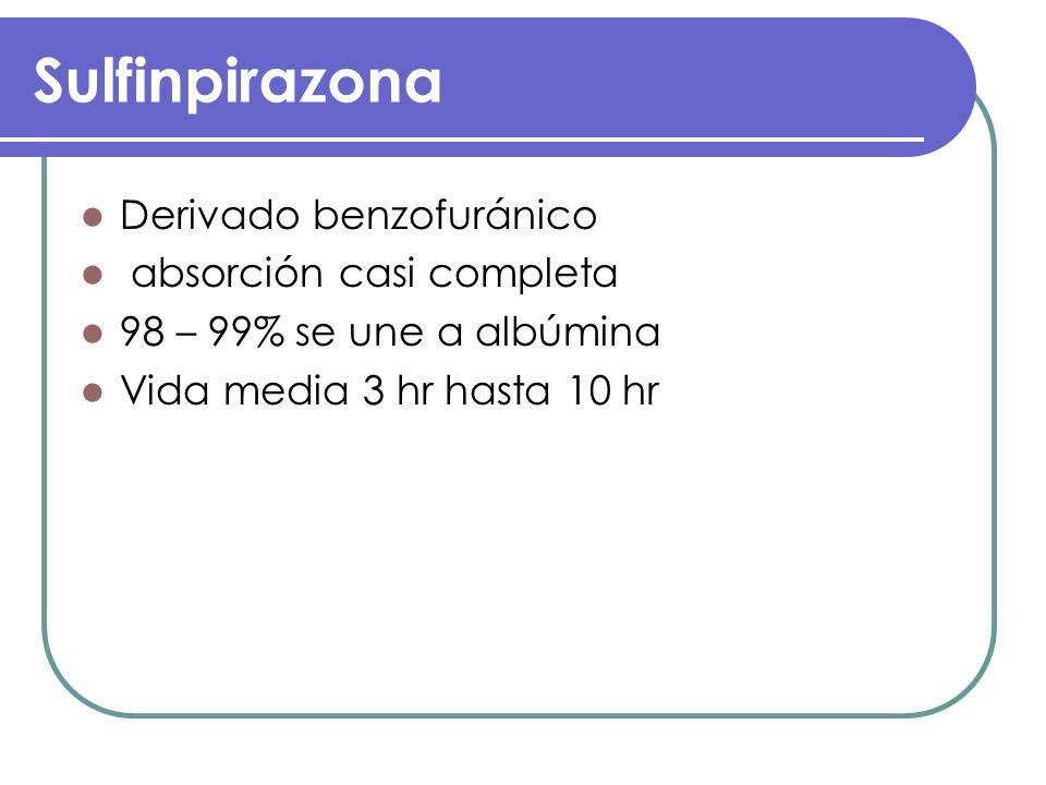 Sulfinpirazona Derivado benzofuránico absorción casi completa
