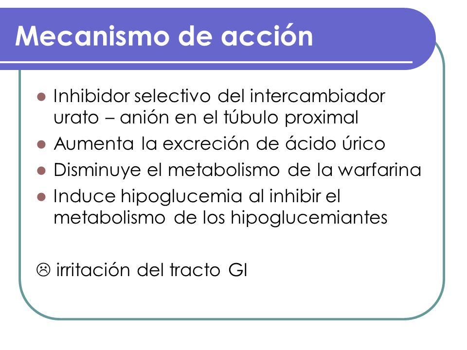 Mecanismo de acciónInhibidor selectivo del intercambiador urato – anión en el túbulo proximal. Aumenta la excreción de ácido úrico.