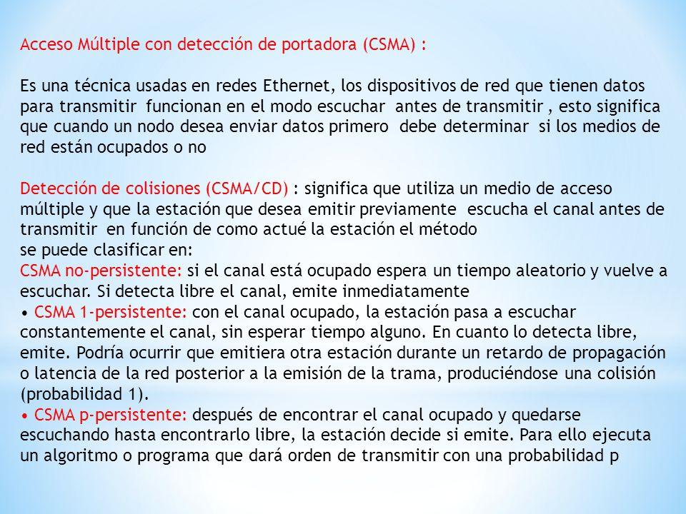 Acceso Múltiple con detección de portadora (CSMA) :