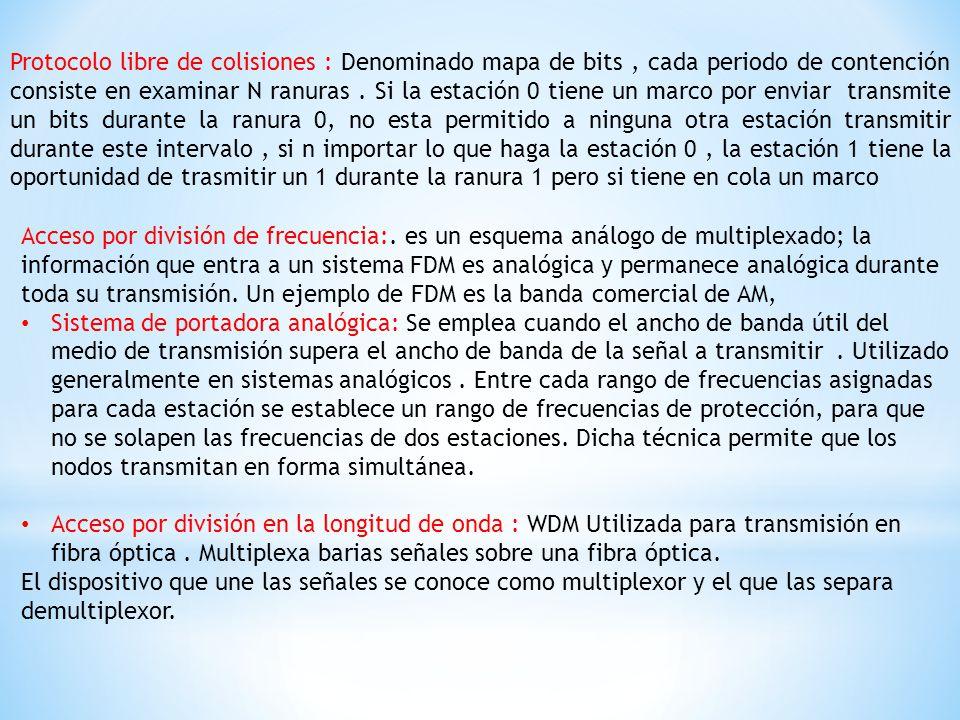 Protocolo libre de colisiones : Denominado mapa de bits , cada periodo de contención consiste en examinar N ranuras . Si la estación 0 tiene un marco por enviar transmite un bits durante la ranura 0, no esta permitido a ninguna otra estación transmitir durante este intervalo , si n importar lo que haga la estación 0 , la estación 1 tiene la oportunidad de trasmitir un 1 durante la ranura 1 pero si tiene en cola un marco