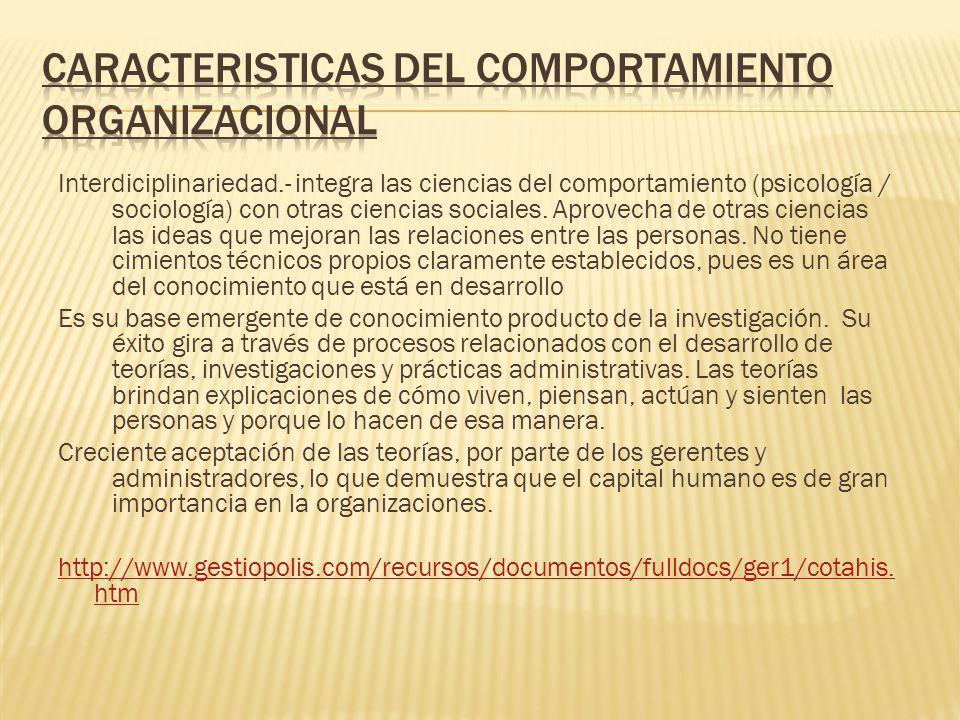 CARACTERISTICAS DEL COMPORTAMIENTO ORGANIZACIONAL