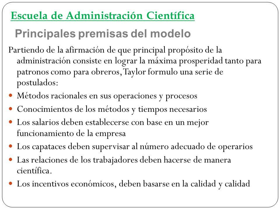 Principales premisas del modelo