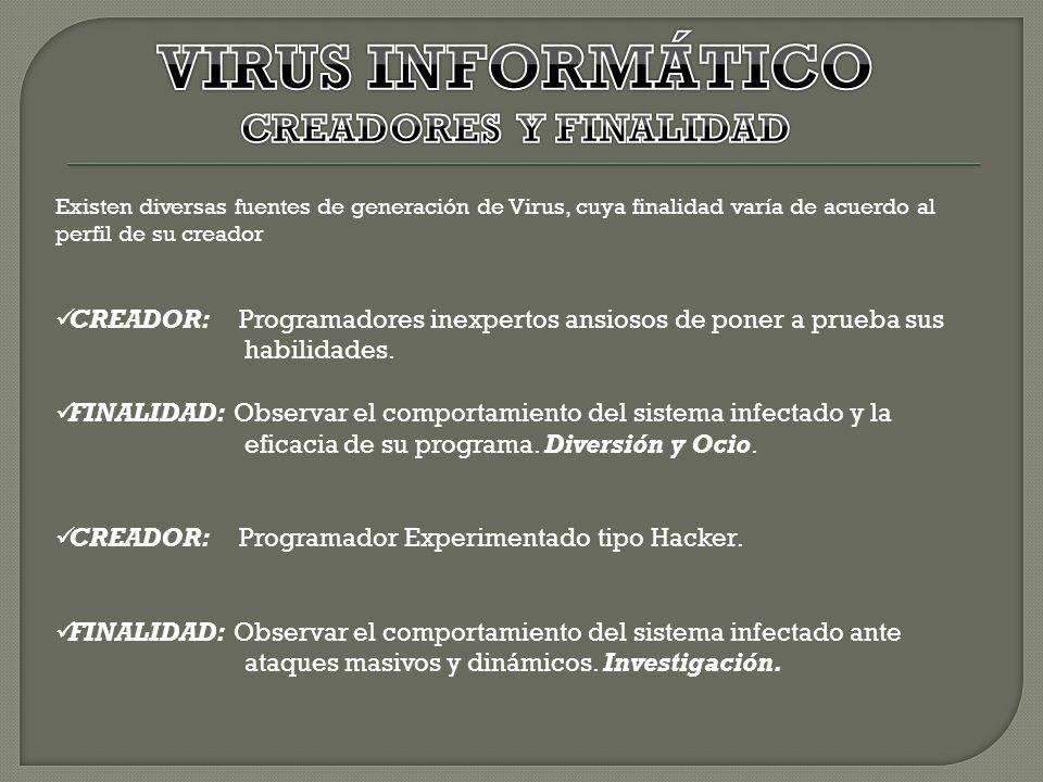 VIRUS INFORMÁTICO CREADORES Y FINALIDAD
