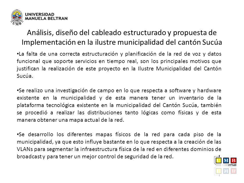 Análisis, diseño del cableado estructurado y propuesta de Implementación en la ilustre municipalidad del cantón Sucúa