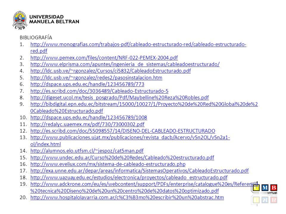 BIBLIOGRAFÍA http://www.monografias.com/trabajos-pdf/cableado-estructurado-red/cableado-estructurado-red.pdf.