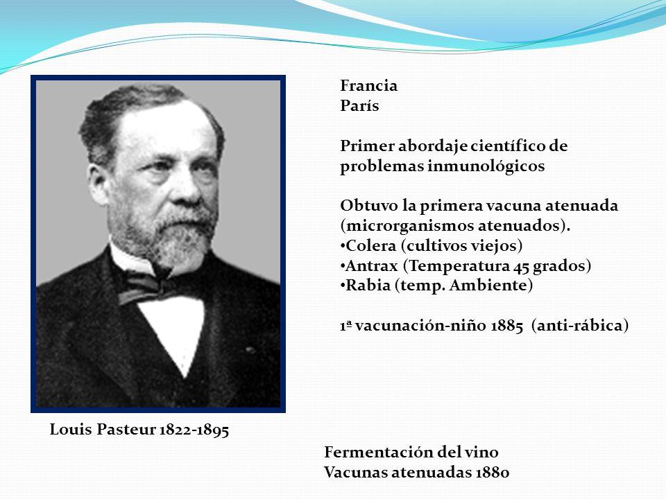 Francia París. Primer abordaje científico de problemas inmunológicos. Obtuvo la primera vacuna atenuada.