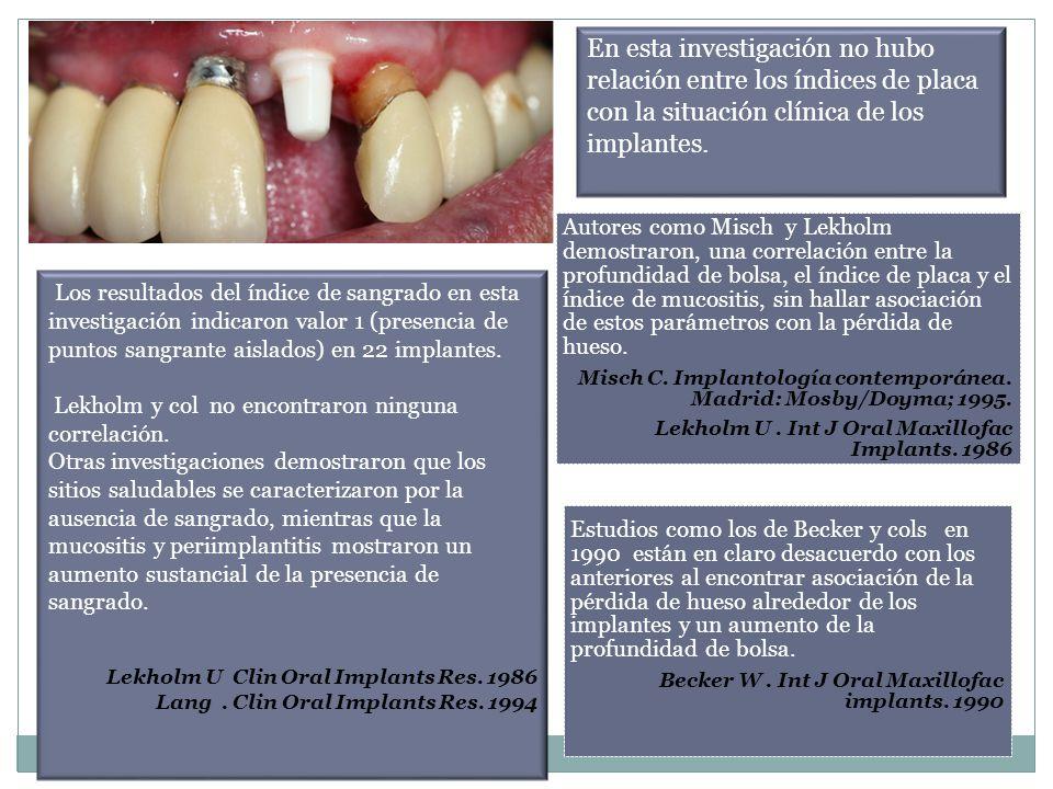 En esta investigación no hubo relación entre los índices de placa con la situación clínica de los implantes.