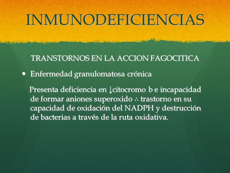TRANSTORNOS EN LA ACCION FAGOCITICA