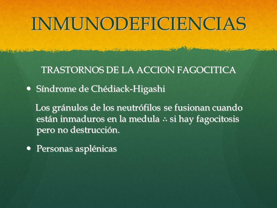 TRASTORNOS DE LA ACCION FAGOCITICA