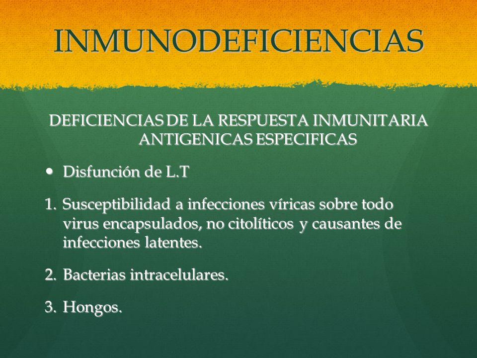 DEFICIENCIAS DE LA RESPUESTA INMUNITARIA ANTIGENICAS ESPECIFICAS
