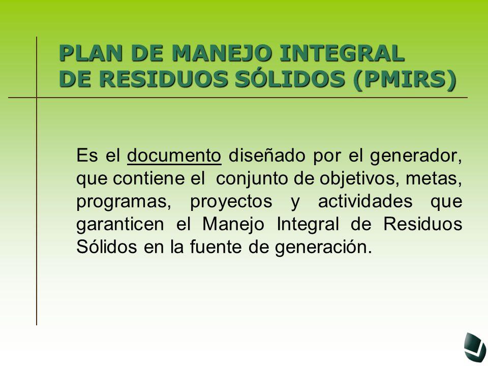 PLAN DE MANEJO INTEGRAL DE RESIDUOS SÓLIDOS (PMIRS)