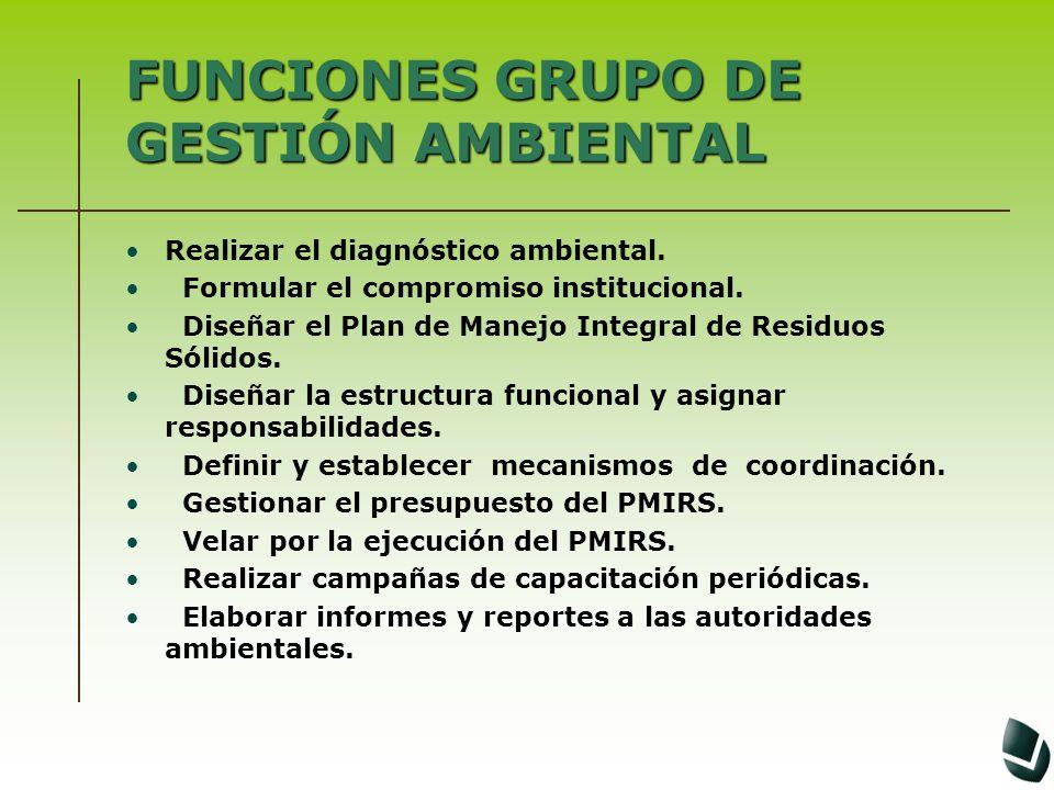 FUNCIONES GRUPO DE GESTIÓN AMBIENTAL