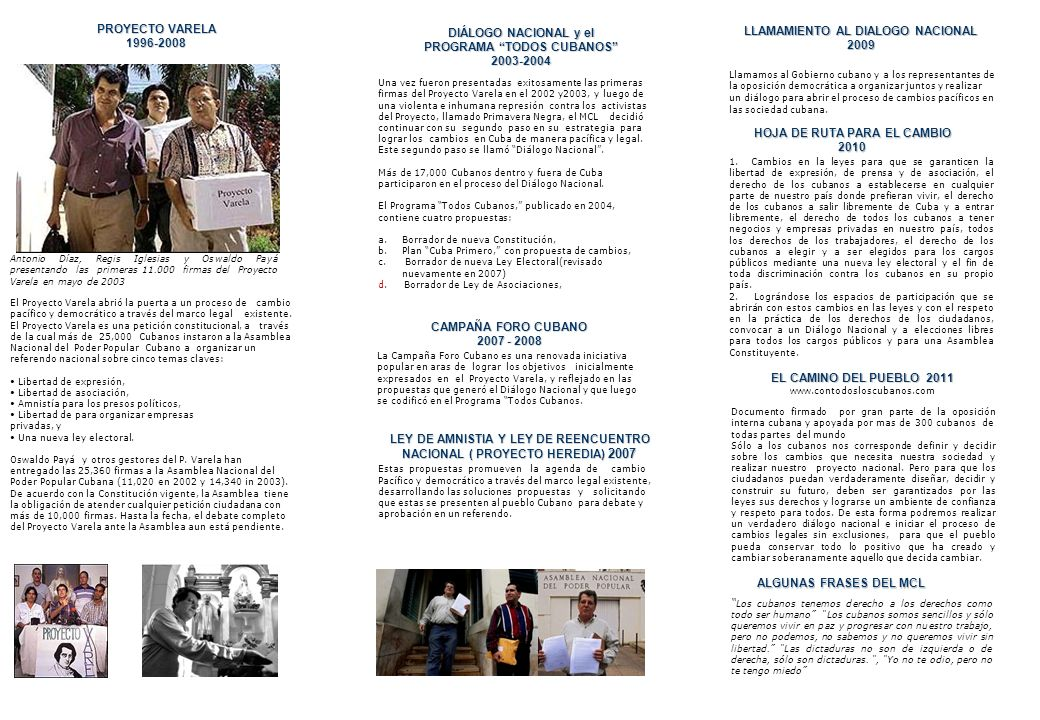 PROGRAMA TODOS CUBANOS 2003-2004 LLAMAMIENTO AL DIALOGO NACIONAL