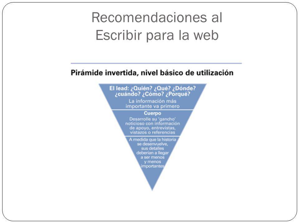 Recomendaciones al Escribir para la web